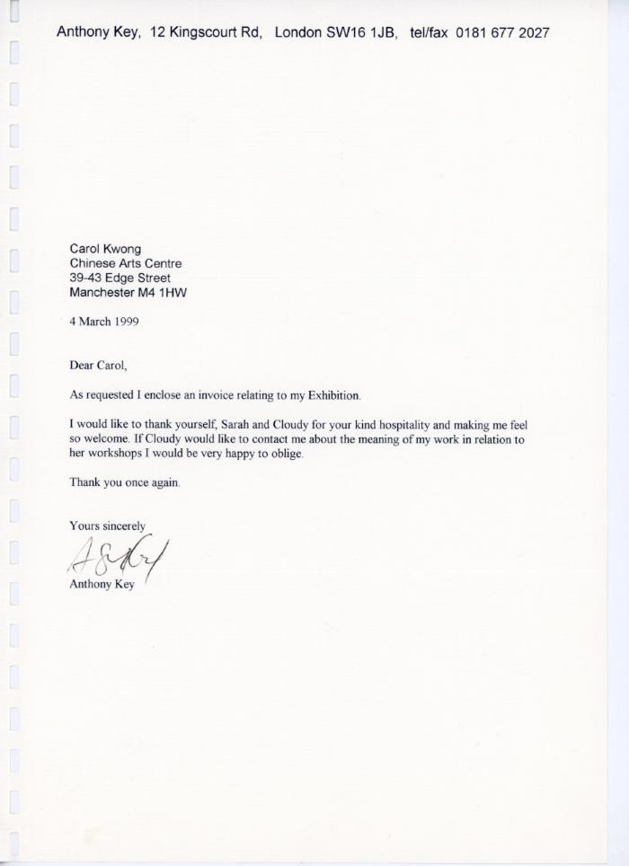 Letter re. invoice for exhibition