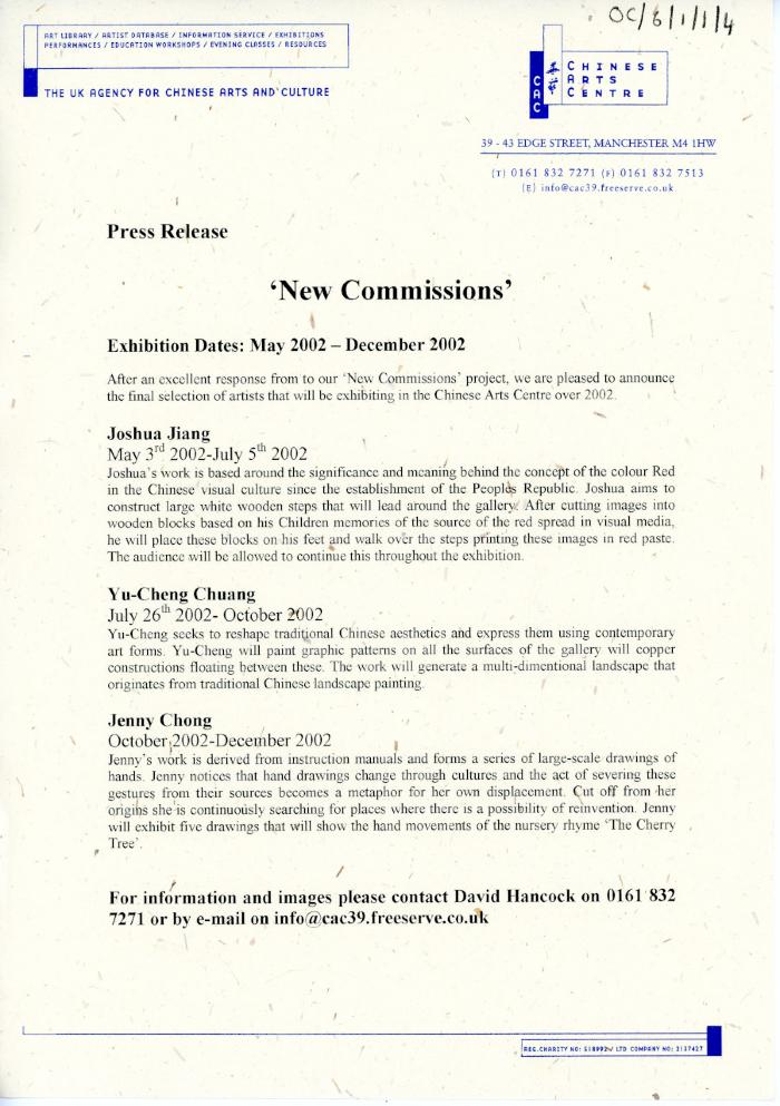 Press release 'New Commissions'