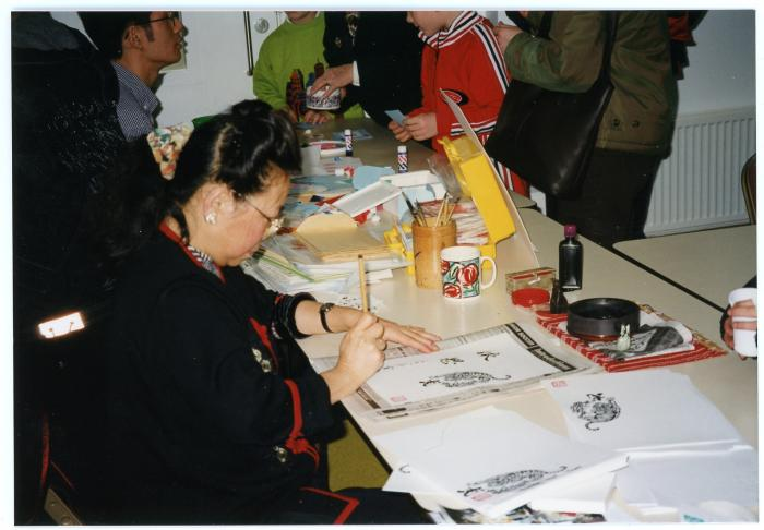 Photograph of Chinese New Year calligraphy workshop