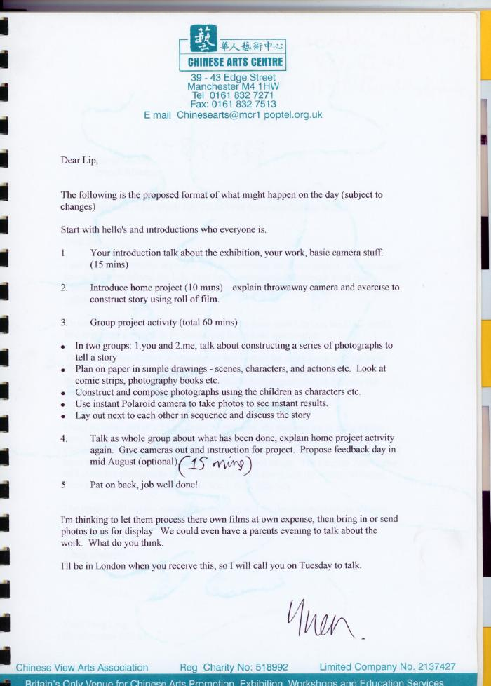 Letter regarding the proposed format of the 'Roll with it' workshop