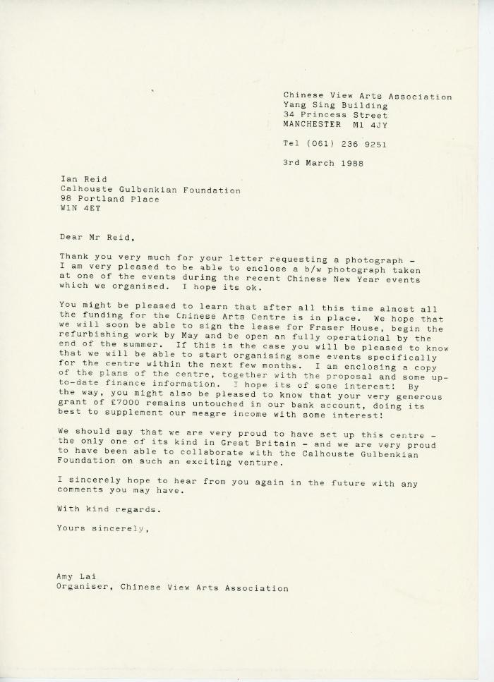 Letter re. funding and the opening of the Chinese Art Centre