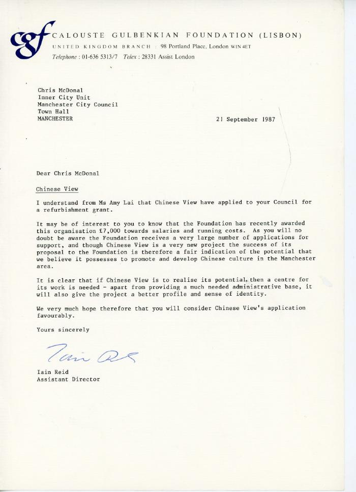 Letter of support to Manchester City Council