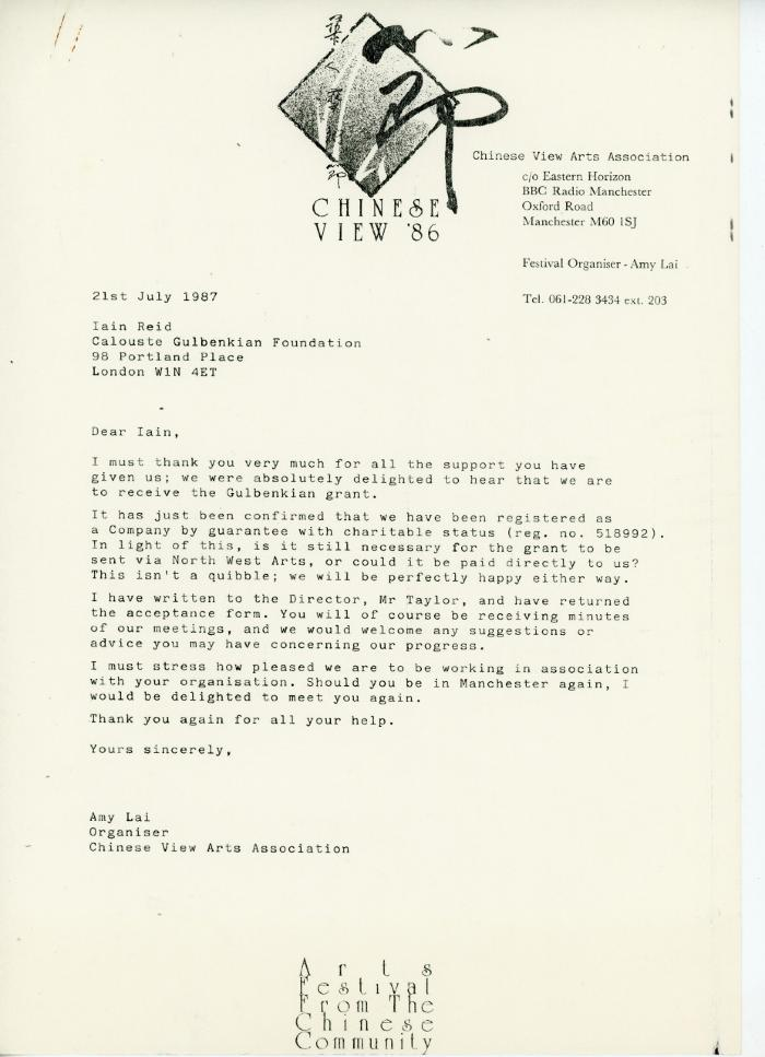 Letter re. support of the Calouste Gulbenkian Foundation