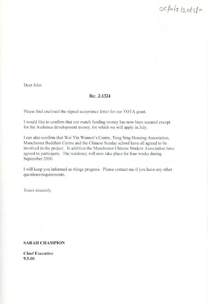 Letter re. Acceptance for the Year of the Artist Grant.