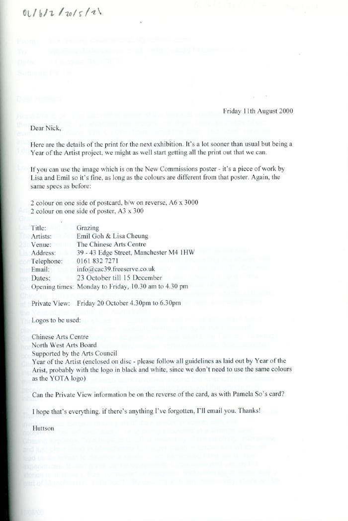 Letter re. promotional materials for the 'Grazing' exhibition.