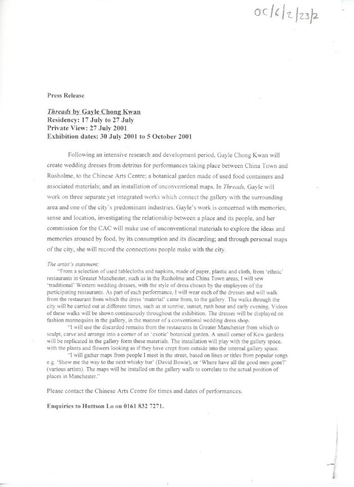 Draft press release: 'Threads by Gayle Chong Kwan'