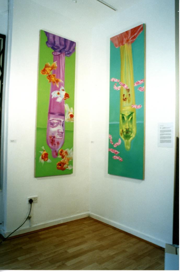 'New Year Dream' installation photograph:'Enlarged Prop Fish'/'Enlarged Prop Flowers' by Zhang Xiaotao