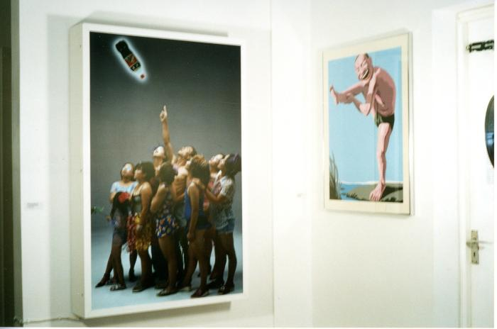 'New Year Dream' installation photograph: 'Look up! Look up!' by Wang Qingsong and 'Flamingo' by Yue Minjun