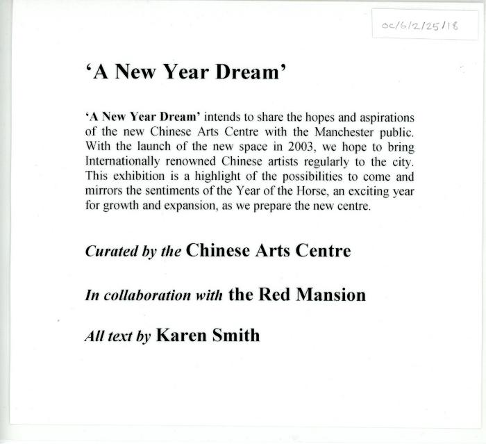 'New Year Dream' Gallery text